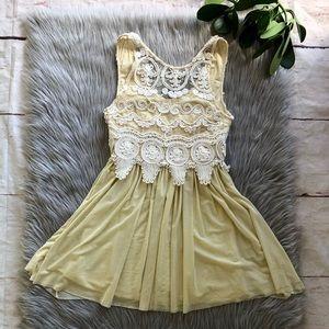 Angel Biba Cream Lace Embroidered Mini Dress 10